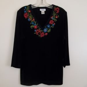 Laura Ashley Black Embroidered Top - LP